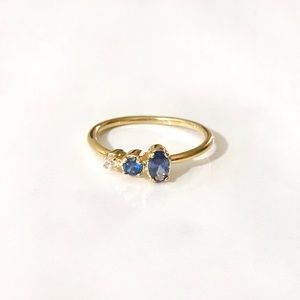 dainty blue cz cluster gold plated stacking ring 7